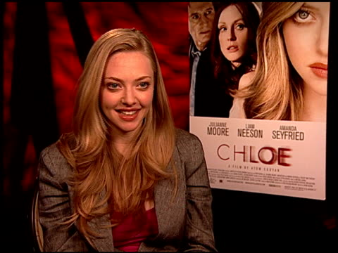 amanda seyfried on what makes a good director at the 'chloe' junket at los angeles ca - chloe designer label stock videos and b-roll footage
