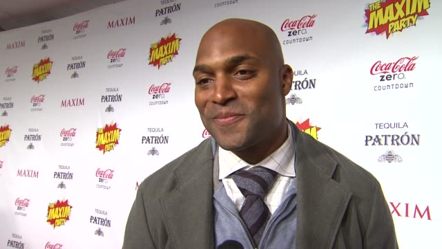 amani toomer on what brings him out the the maxim super bowl party how he is feeling about the big game if being a former giant means he has to root... - paul mitchell stock videos and b-roll footage