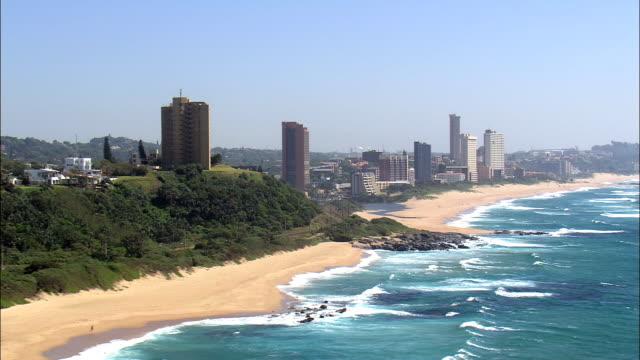 amanzimtoti  - aerial view - kwazulu-natal,  south africa - kwazulu natal stock videos & royalty-free footage