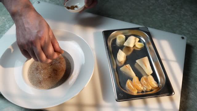 amaranth dish fruit garnish - garnish stock videos & royalty-free footage