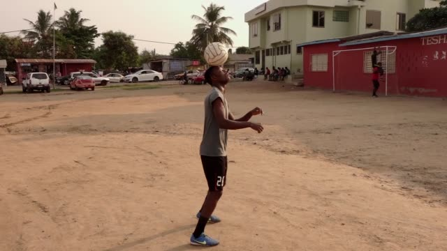 Amateur footballers play soccer in Kumasi Ghana on January 26 2017 Egypt won over Ghana and top place in Africa Cup of Nations Group D as the...