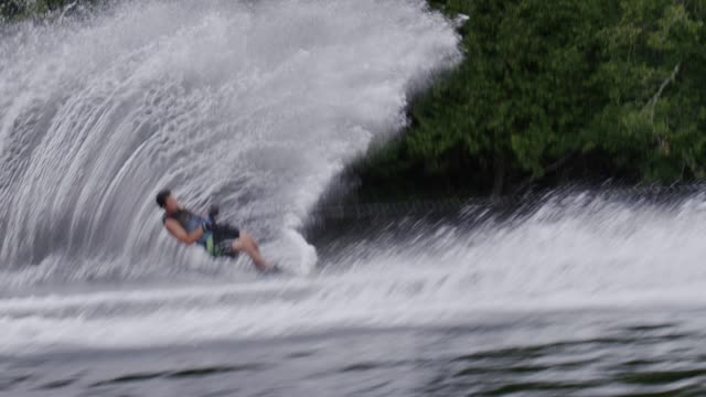 amateur teenage slalom waterskiing waterskier - amateur stock videos & royalty-free footage