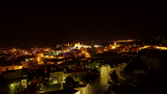 amazing aerial 24hours day-night-day timelapse of bethlehem, westbank, palestine - palestinian territories stock videos and b-roll footage