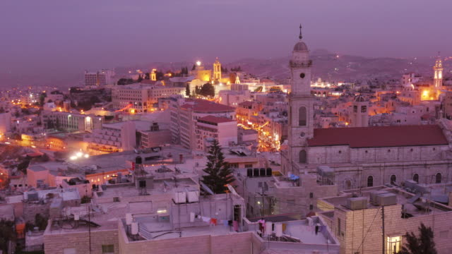 Amazing Aerial Day to Night Timelapse of Bethlehem, Westbank, Palestine