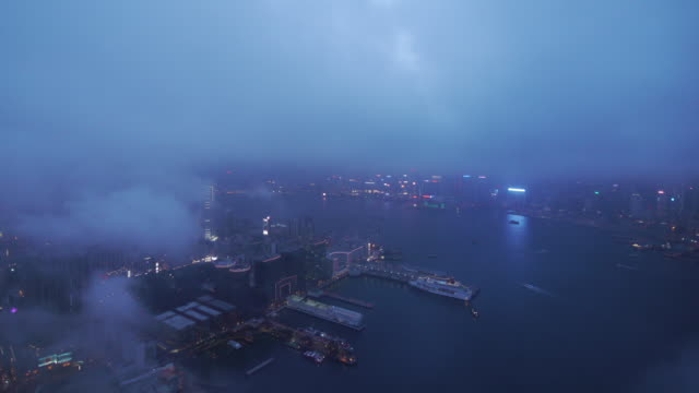 Amazing Aerial Hong Kong Time Lapse day to night Harbor City