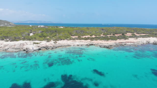 amazing aerial view of beach in ibiza coast, turquoise waters - silvestre stock-videos und b-roll-filmmaterial