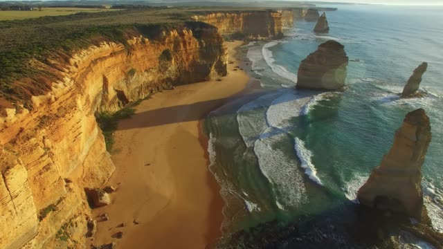 amazing aerial view of twelve apostles. australia - great ocean road stock videos & royalty-free footage