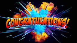 Amazing explosion animation with text Congratulations