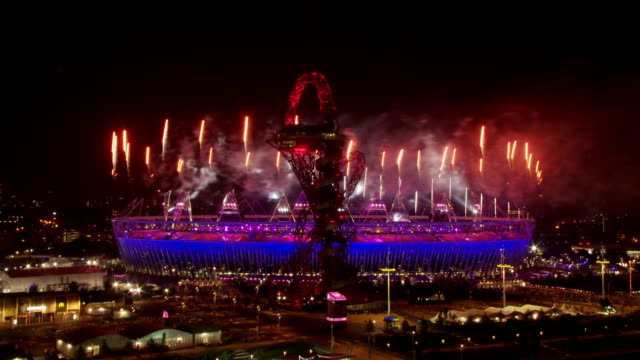 amazing fireworks display as the opening ceremony of the london 2012 paralympics comes to its climax timelapse paralympics fireworks at olympic park... - opening ceremony stock videos & royalty-free footage