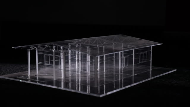 amazing glass model house on black background -  stock video - wire frame model stock videos & royalty-free footage