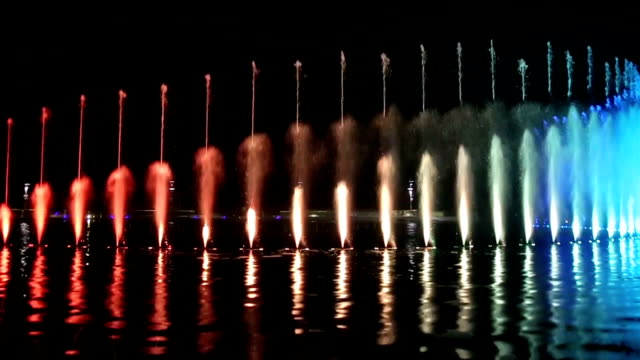 amazing light and water night show - fountain stock videos & royalty-free footage