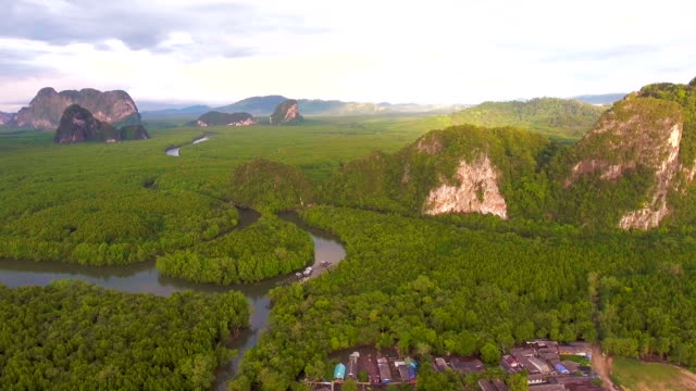 amazing mangrove forest and mountains in andaman sea, phang-nga bay, thailand, aerial video - andaman sea stock videos & royalty-free footage