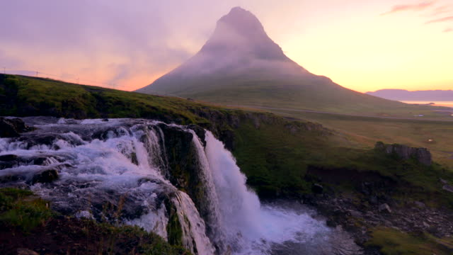 Amazing of Kirkjufellsfoss waterfall in the morning at Iceland
