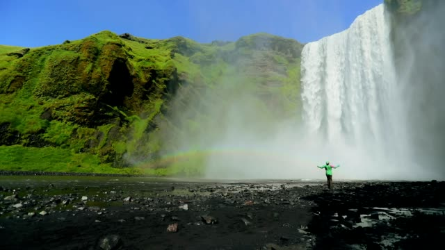 Amazing of skogafoss waterfall in iceland, Slow motion