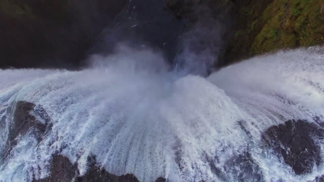 aerial amazing skogafoss waterfall - waterfall stock videos & royalty-free footage