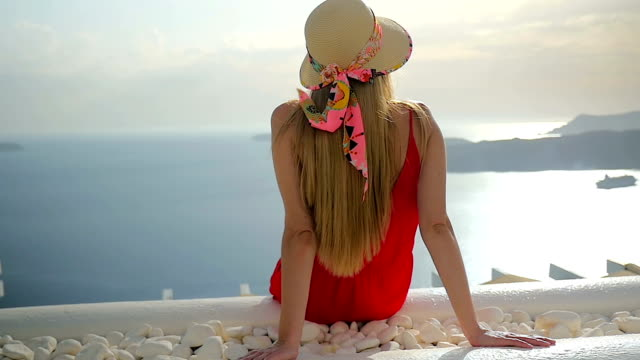 amazing vacations in santorini - young women stock videos & royalty-free footage