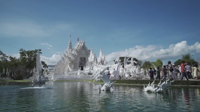 amazing wat rong khun (white temple), chiang rai, northern thailand, thailand, southeast asia, asia - tracking shot stock videos & royalty-free footage