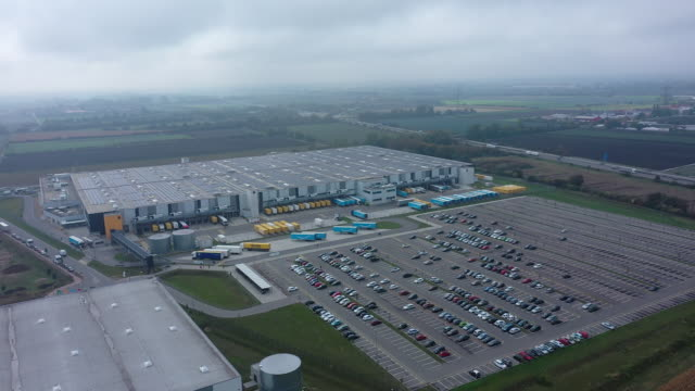 amazon distribution center in frankenthal, near mannheim, germany on tuesday, oct. 13, 2020. - parking stock videos & royalty-free footage