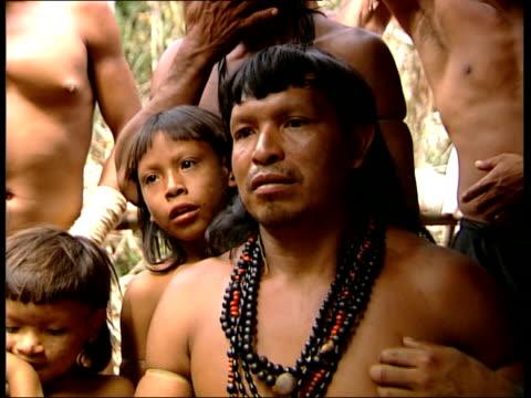 EnaweneNawe Indians BRAZIL Amazon Rainforest EXT Indigenous EnaweneNawe Indian man lying in hammock in camp Lula interviewed on the destruction to...