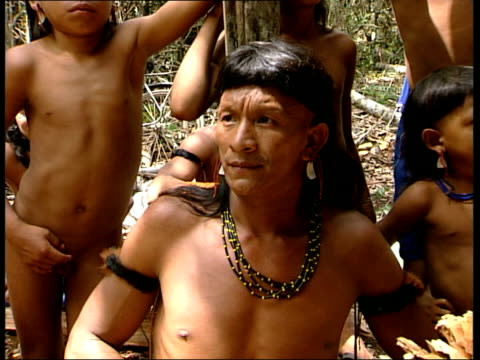 EnaweneNawe Indians Wenakwaene interviewed on the reservation areas of the forest SOT Closeups Indian men and children in village
