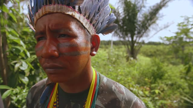vidéos et rushes de amazon tribe battling to save the rainforest from deforestation brazil maranhao caru indigenous reserve guardians of the forest patrolling rainforest... - culture indigène