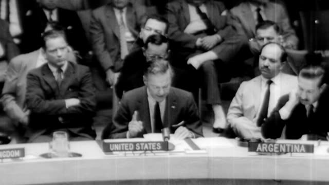ambassador henry cabot lodge jr explains us interpretation of what happened in regard to the u2 spy plane to un security council / 'a soviet fighter... - communism stock videos & royalty-free footage