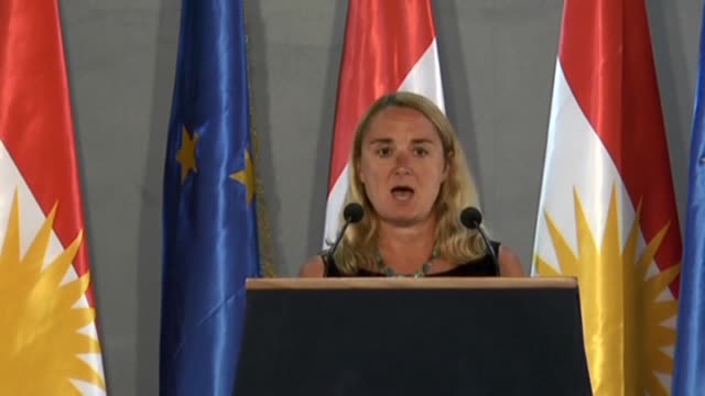 ambassador of the european union in iraq jana hybaskova delivers a speech during the opening ceremony of the european union kurdish regional... - iraqi prime minister stock videos & royalty-free footage