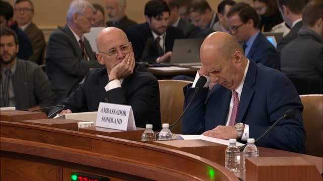 us ambassador to the eu gordon sondland testifies at the sixth public impeachment inquiry hearing by the house intelligence committee under... - 法廷審問点の映像素材/bロール
