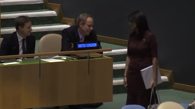 ambassador to the un, nikki haley attends an emergency session of united nations general assembly on jerusalem at un headquarters in new york, usa on... - united nations general assembly stock videos & royalty-free footage