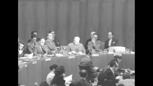 Ambassador to the UN Warren Austin reads report from Gen Douglas MacArthur on communist Chinese forces' incursions into the Korean War '16 October...