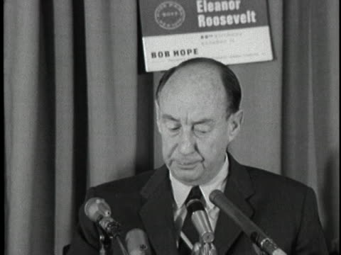 ambassador to the united nations adlai stevenson speaks about continuing the good works of former first lady eleanor roosevelt. - 1963 stock videos & royalty-free footage