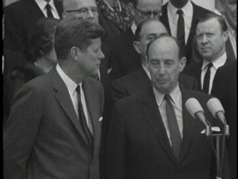 ambassador to the united nations adlai stevenson speaks as president john f. kennedy looks on at a press conference about the permanently established... - 1963 stock videos & royalty-free footage