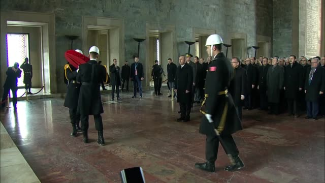 Ambassadors accompanied by Turkish Foreign Minister Mevlut Cavusoglu visit Anitkabir the mausoleum of Turkey's founder Mustafa Kemal Ataturk before...