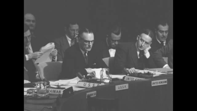 ambassadors of ussr, united kingdom, egypt, france, norway during un security council session / note: exact year not known; documentation incomplete - cold war stock videos & royalty-free footage