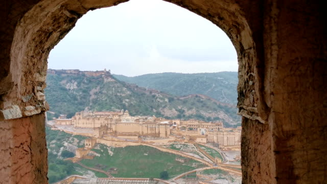 amber fort near jaipur in rajasthan, india - palace stock videos & royalty-free footage