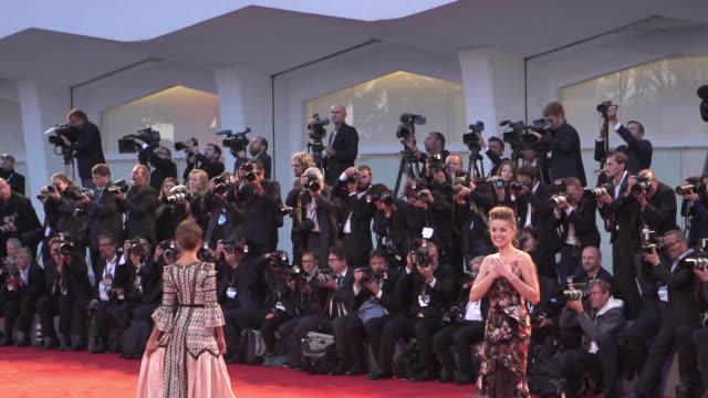 SLOMO Amber Heard Alicia Vikander at 'The Danish Girl' Red Carpet 72nd Venice Film Festival at Palazzo del Cinema on September 05 2015 in Venice Italy