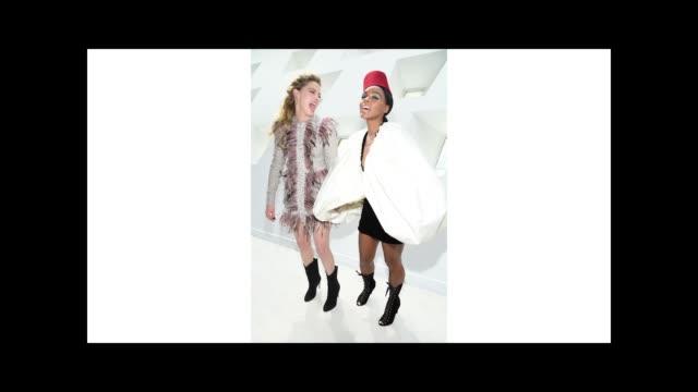stockvideo's en b-roll-footage met amber heard and janelle monae attend the giambattista valli show as part of the paris fashion week womenswear fall/winter 2019/2020 on march 04 2019... - dameskleding