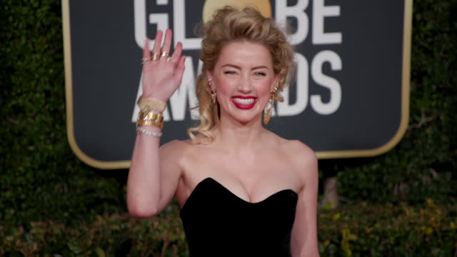amber heard at the 76th annual golden globe awards arrivals - amber heard stock videos & royalty-free footage