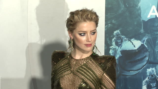amber heard at the aquaman premiere - amber heard stock videos & royalty-free footage