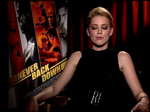 Amber Heard on the experience of making the film and on the message of the film at the 'Never Back Down' Press Junket at NULL in Los Angeles...