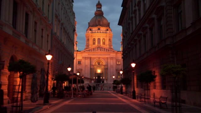 Amber lights illuminate St. Stephen's Basilica in Budapest.