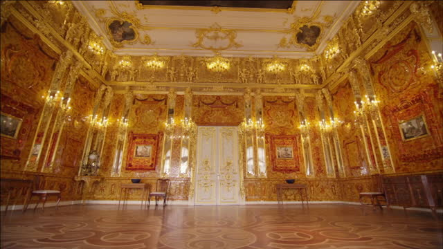 amber room in catherine's palace, russia - art and craft stock videos & royalty-free footage