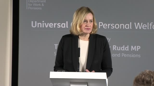 amber rudd announces package of changes to universal credit england london kennington int amber rudd mp speech sot so i'm delighted to be here to... - ジャッキー ロング点の映像素材/bロール