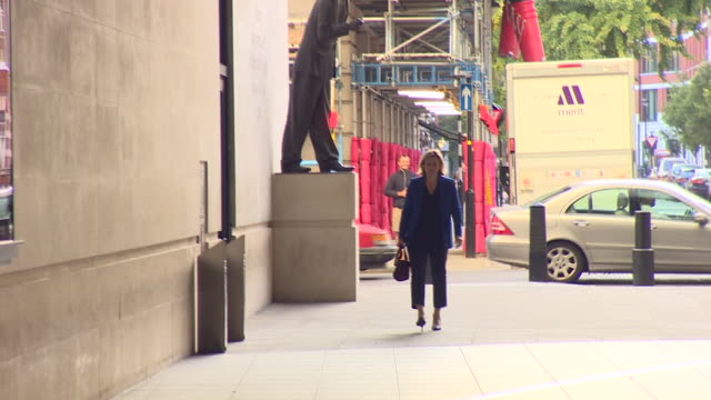 amber rudd arriving at bbc broadcasting house for an interview with andrew marr - andrew marr stock videos & royalty-free footage