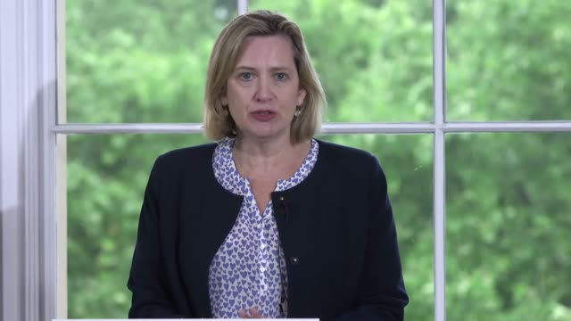 amber rudd endorses jeremy hunt as next tory leader as he launches his campaign to become the next prime minister under the slogan 'unite to win' - 政治家 ジェレミー ハント点の映像素材/bロール