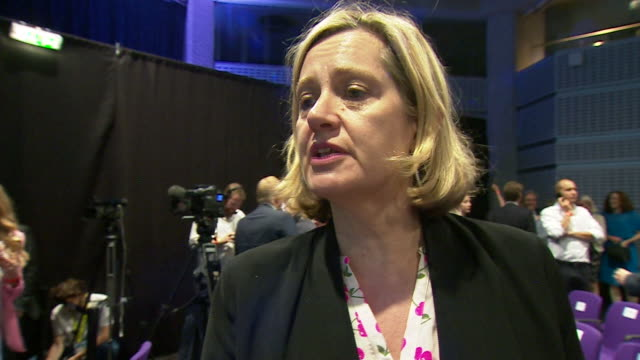 "vídeos de stock, filmes e b-roll de amber rudd saying the conservative party has ""total commitment"" in getting behind boris johnson - contestant"