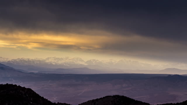 amber sunset over the sierra nevada mountains - time lapse - californian sierra nevada stock videos & royalty-free footage
