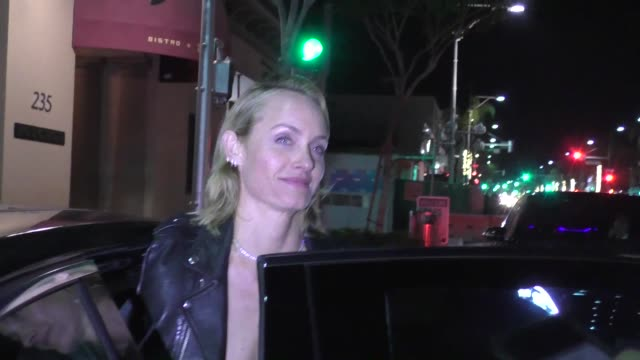 amber valletta outside of bouchon bistro in beverly hills in celebrity sightings in los angeles - amber valletta stock videos and b-roll footage