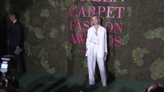 Amber Valletta Simon Holloway Alison Brie and more on the red carpet for the Green Carpet Fashion Awards at Teatro alla Scala in Milan Milan Italy on...