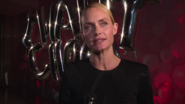 interview amber valletta talks about the energy of ny fashion week at jimmy choo 20th anniversary event during new york fashion week at tbd on... - amber valletta stock videos and b-roll footage